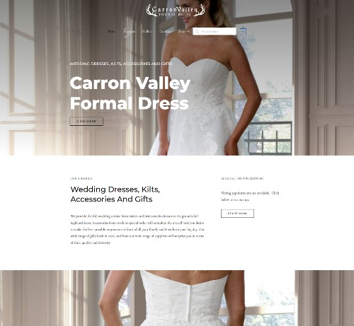 Website Design Falkirk client Carron Valley Formal Dress