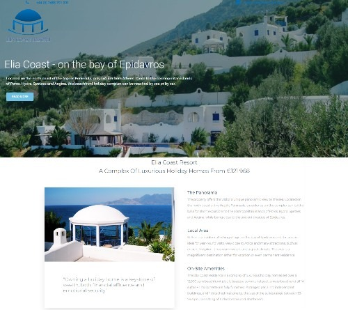 Website Design Falkirk client Elia Coast Resort